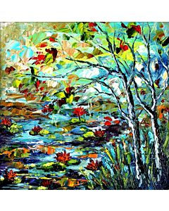 Riverside Scenery Painting to create the look and feel of the original nature