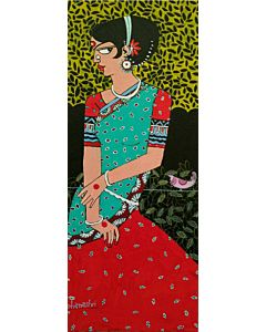Indian art,girl painting, Woman Portrait painting adds colour and vibrance to the empty wall will be stunningly Gorgeous